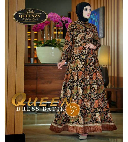 Gamis Batik Modern Elegan 2018 Queen Dress Batik Vol2 By Queenzy