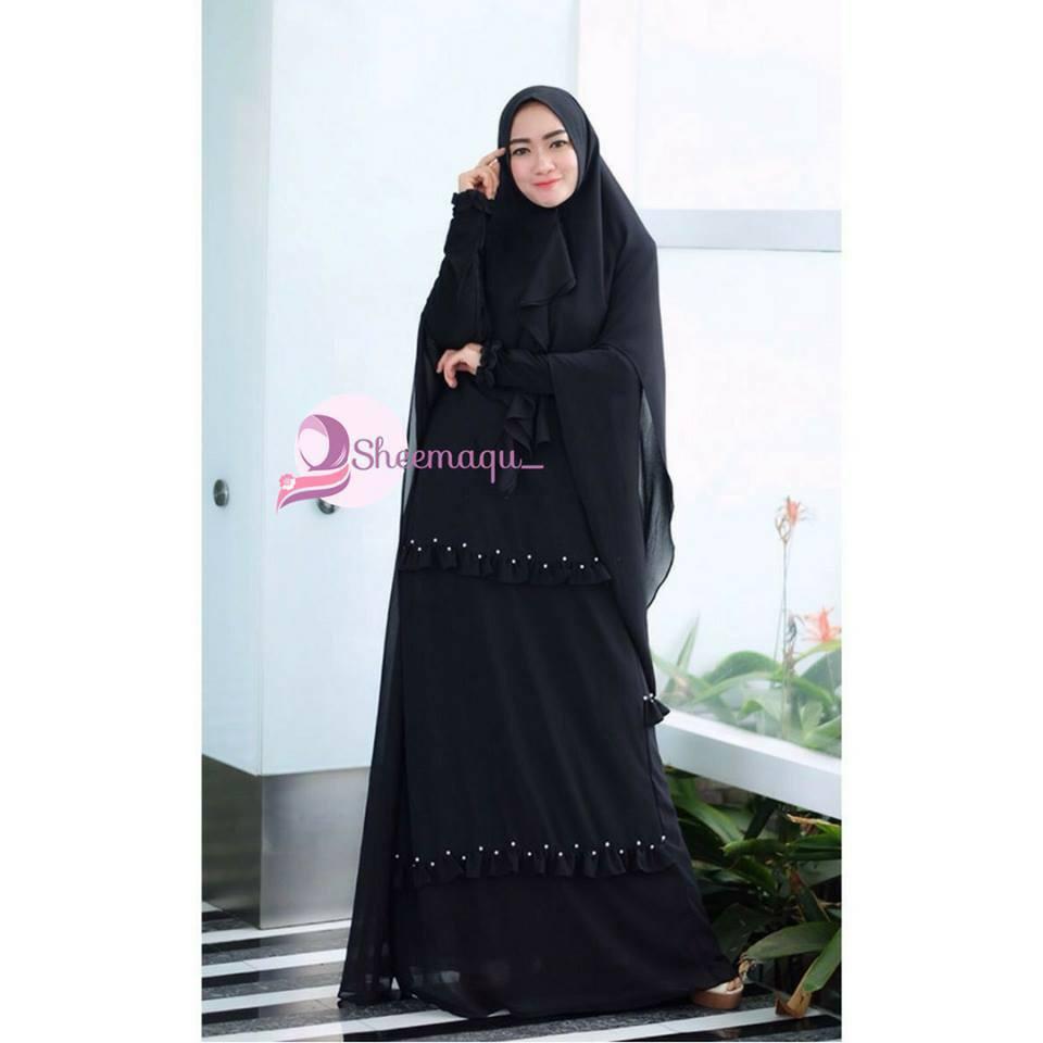 Gamis Hitam Elegan Syari Baju Gamis Untuk Umroh Gamis Polos
