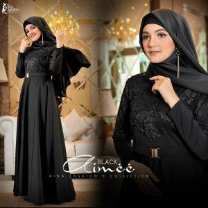 dress pesta muslim hitam 2019