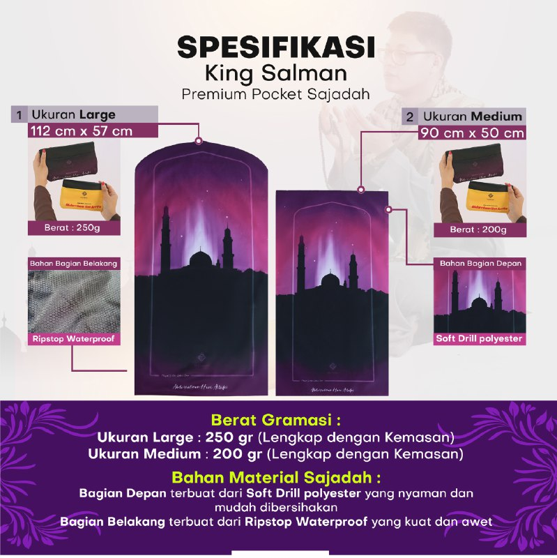 sajadah travel pocket king salman