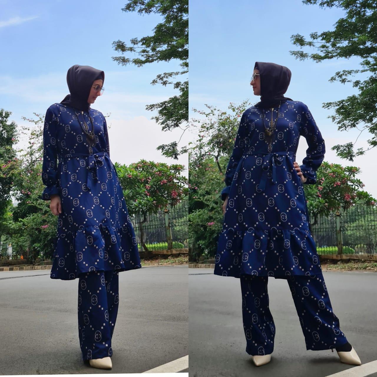 setelan tunik wanita muslim terbaru 2020