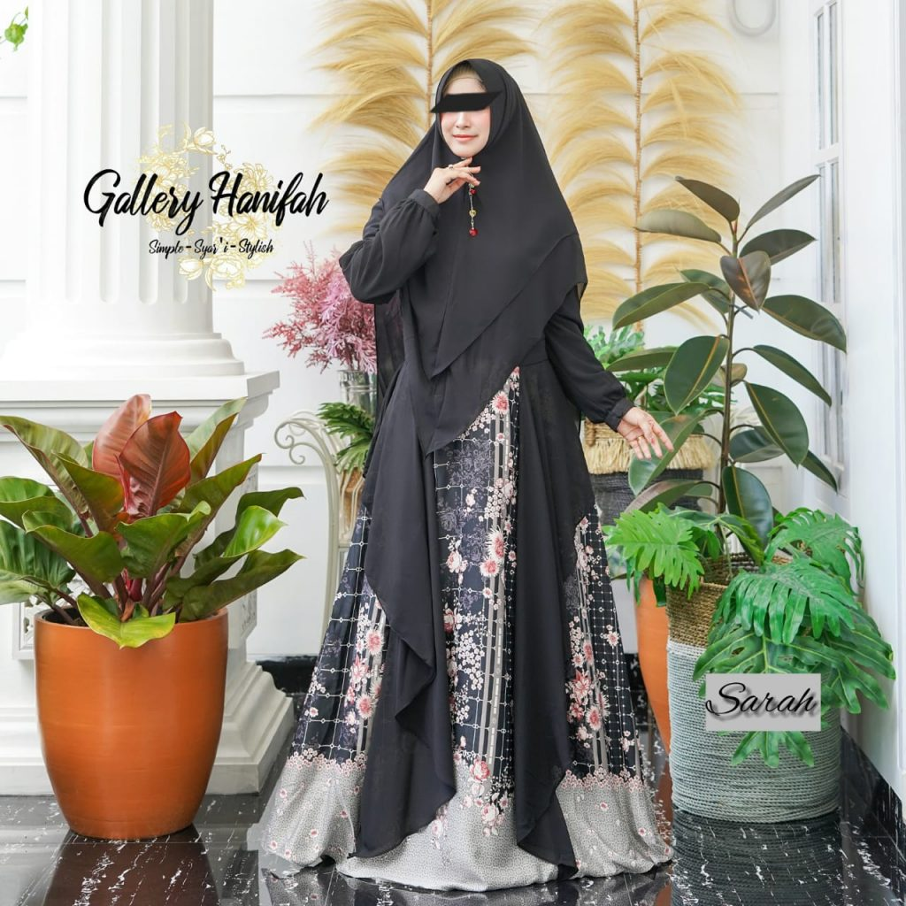 gamis hitam motif elegan
