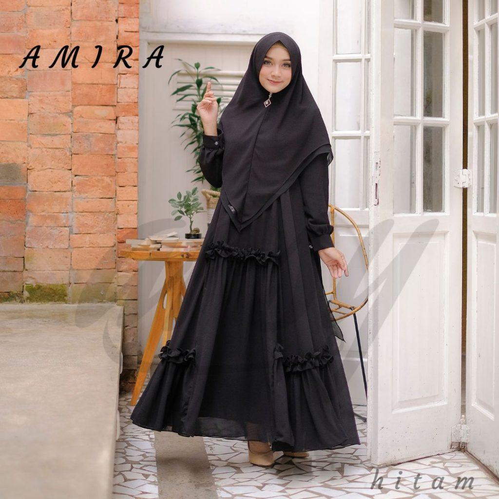 baju gamis hitam elegan syari 2021
