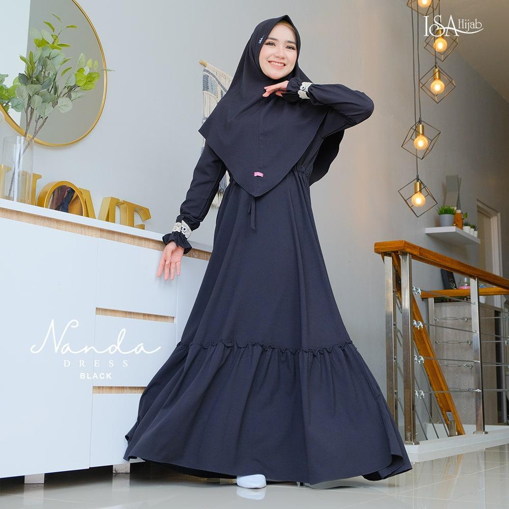 model gamis hitam elegan 2021 2022 terbaru