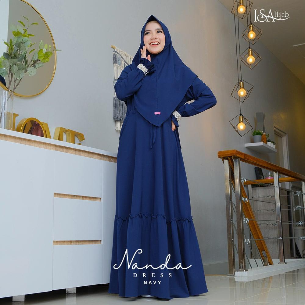 baju gamis warna navy kombinasi cantik